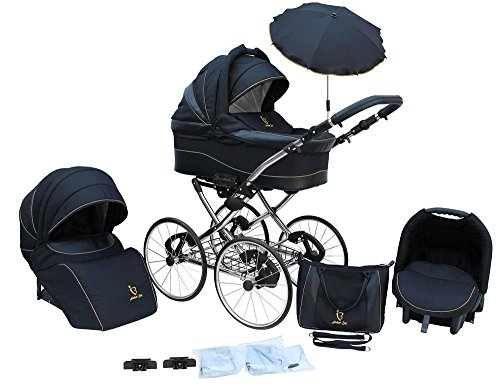 Kinderwagen AmberLine Classica Retro_BLACK, 3 in 1- Set Wanne Buggy Babyschale