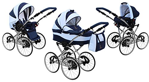 Kinderwagen AmberLine Classica Retro_BLACK, 3 in 1- Set Wanne Buggy Babyschale - 3