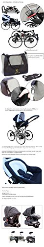 Kinderwagen AmberLine Classica Retro_BLACK, 3 in 1- Set Wanne Buggy Babyschale - 7