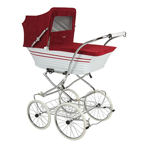 Gondelkinderwagen Retro - Räder parallel (Bordeaux+Weiß) -