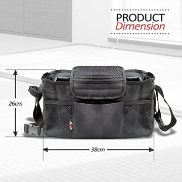 SPD Stroller Organiser Bag, Premium Quality, Fits All Baby Strollers, With Removable Shoulder Strap and Extra Pockets to keep you Organised (Black) (Black) -